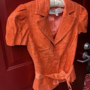 Trina Turk Orange Button Blazer Size 4.